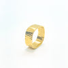 side angle view of 14k Gold Cross Pein Hammered Band by Judie Raiford