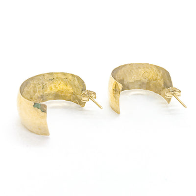 side angle view of 14k Gold Wedding Ring Hoop Earrings by Judie Raiford