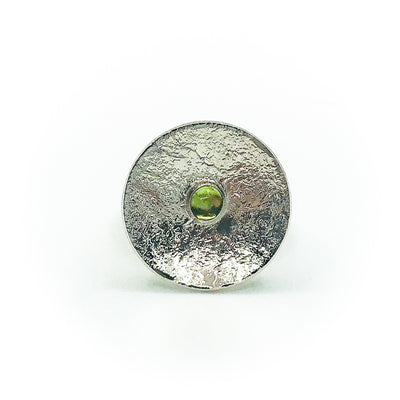 size 6.75 Sterling Round Cup Ring with Peridot by Judie Raiford