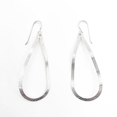 sterling silver Textured Pear Drop Earrings by Judie Raiford