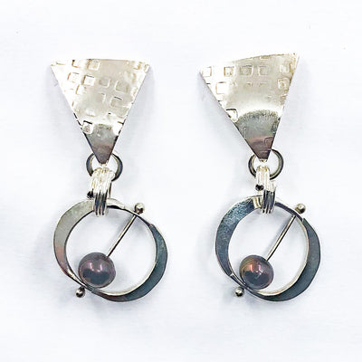 Sterling Naught Earrings with Copper Pearls by Judie Raiford