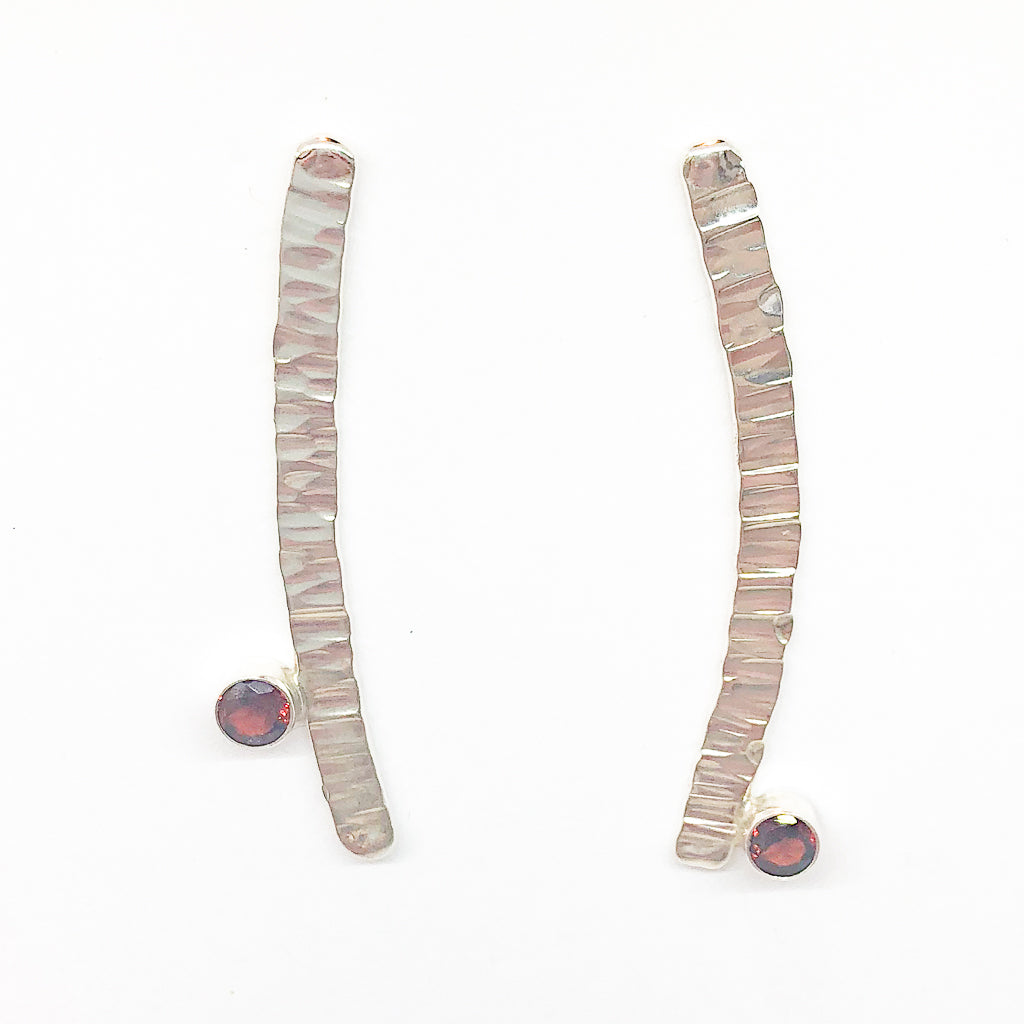 Sterling Short Arch Earrings with Garnet by Judie Raiford