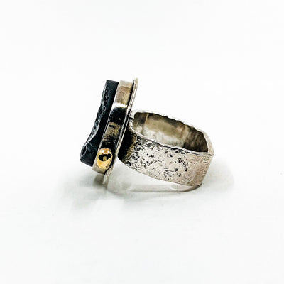 left side view of size 6 Sterling Natural Surface Tourmaline Ring with 14k Gold Ball by Judie Raiford