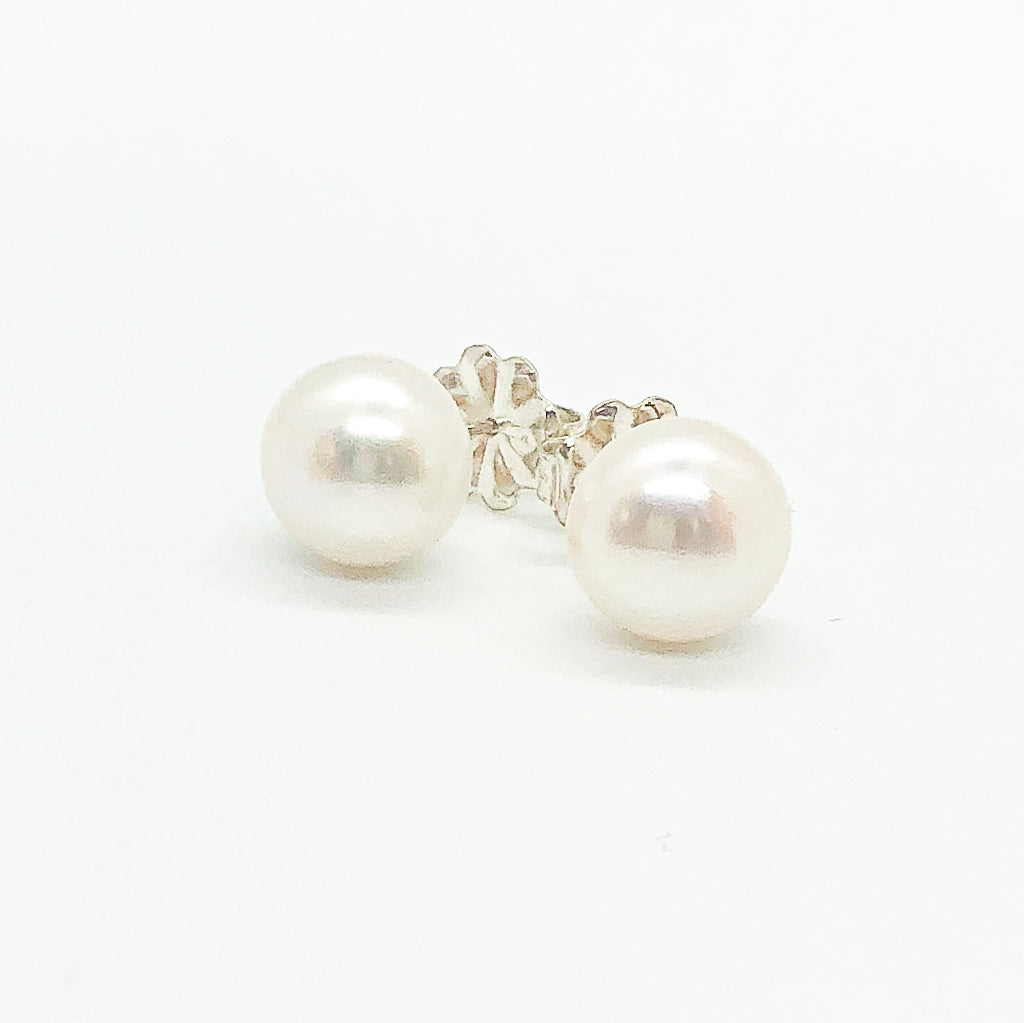 Extra Large 12mm White Pearl Stud Earrings by Judie Raiford