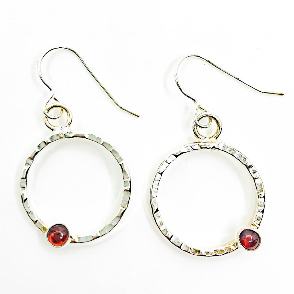 Sterling Pluto Earrings with Garnet by Judie Raiford
