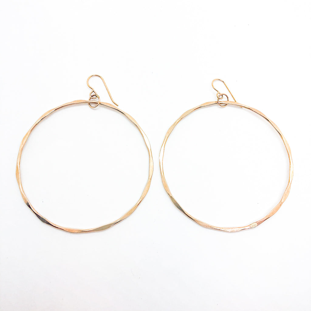 14k Gold Filled Large Hammered Hoop Earrings by Judie Raiford