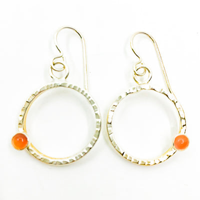 Sterling Pluto Earrings with Carnelian by Judie Raiford