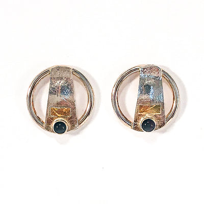 Round Lawa Earrings with Onyx by Judie Raiford