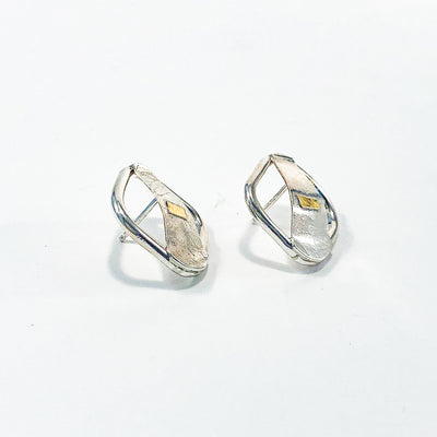 side view of Square Lawa Earrings by Judie Raiford