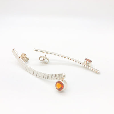 side angle view of Sterling Silver Long Arched Earrings with Citrine by Judie Raiford