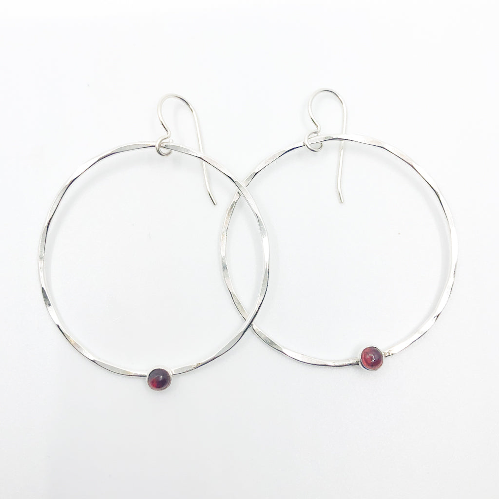 Sterling Orbit Earrings with garnet by Judie Raiford