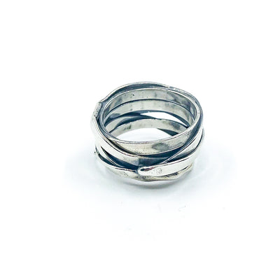 right side view of size 10.75 Men's Sterling Flattened Random Theory Ring by Judie Raiford