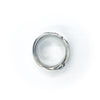 over top view of size 10.75 Men's Sterling Flattened Random Theory Ring by Judie Raiford