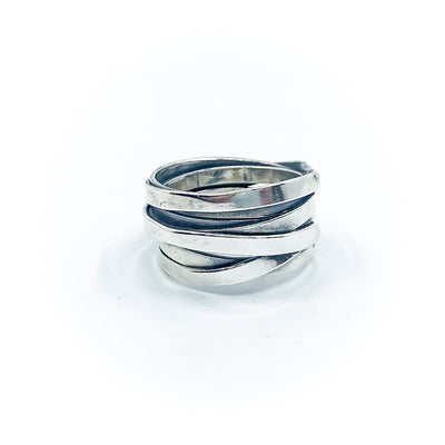 left side view of size 10.75 Men's Sterling Flattened Random Theory Ring by Judie Raiford