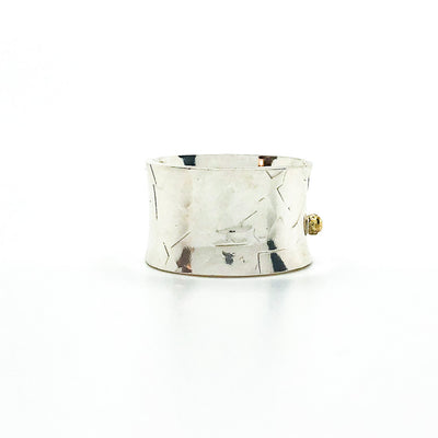 right side view of Sterling Anticlastic X Hammered Ring with 14k Ball by Judie Raiford
