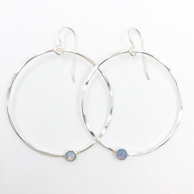 Sterling Orbit Earrings with opal by Judie Raiford