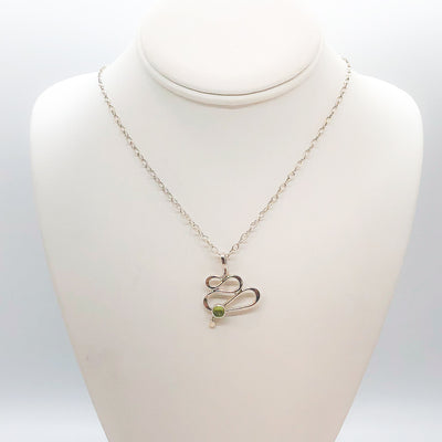 sterling silver Touch of Romance Necklace with Peridot by Judie Raiford on mannequin bust