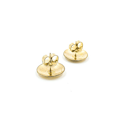 back view of 14k Gold Filled Textured Mini Disc Stud Earrings by Judie Raiford