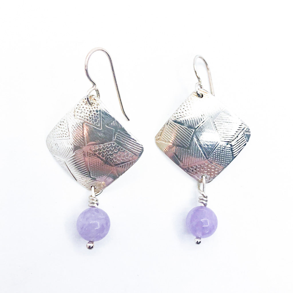 Sterling Goat Earrings with Cape Amethyst by Judie Raiford