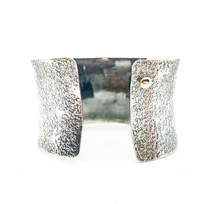 "back side view of 1.5"" Oxidized Sterling Wide Anticlastic Cuff by Judie Raiford"