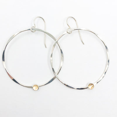 Sterling Orbit Earrings with citrine by Judie Raiford