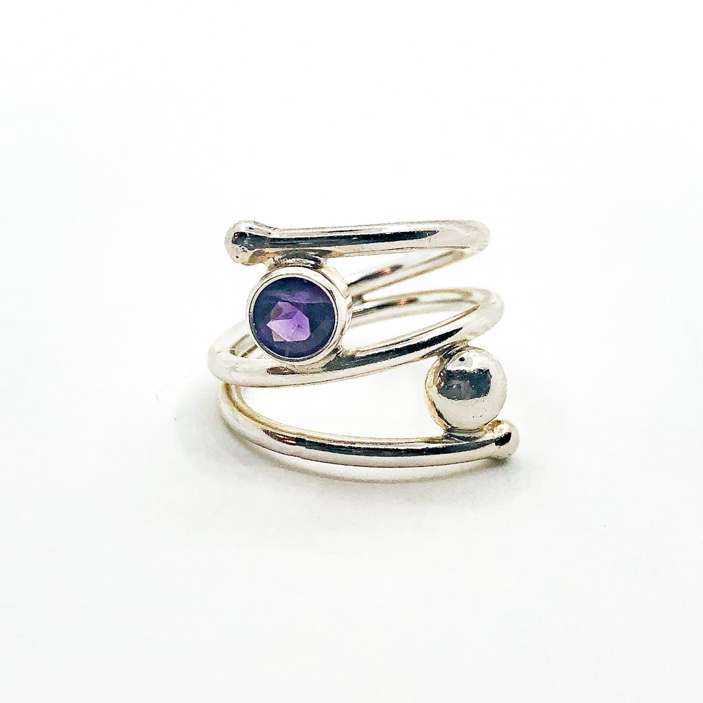 Sterling Bypass Ring with Amethyst by Judie Raiford
