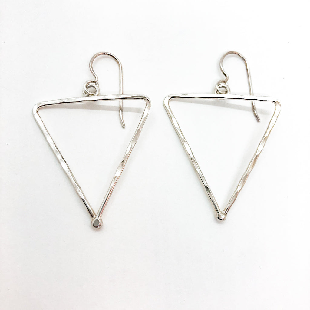 sterling silver Short Hammered Triangle Earrings by Judie Raiford
