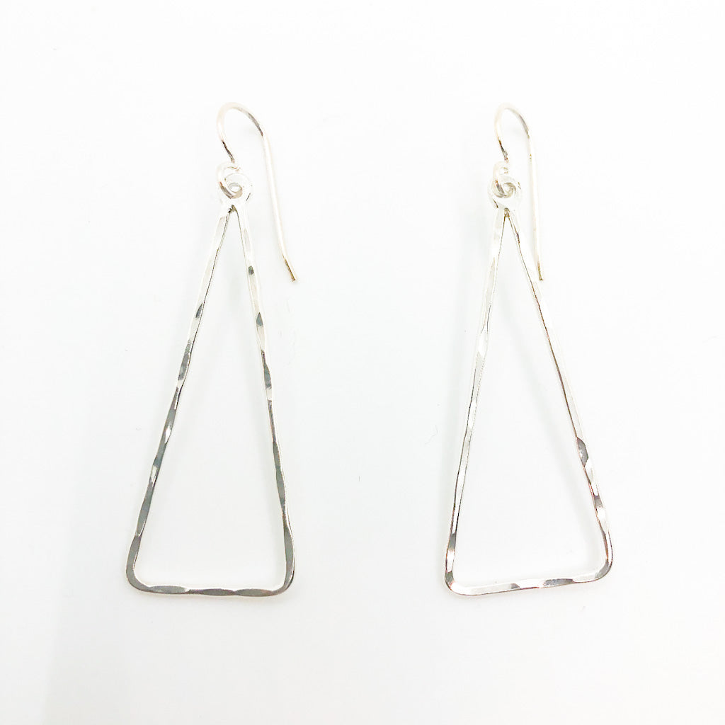 Sterling Skinny Hammered Triangle Earrings by Judie Raiford