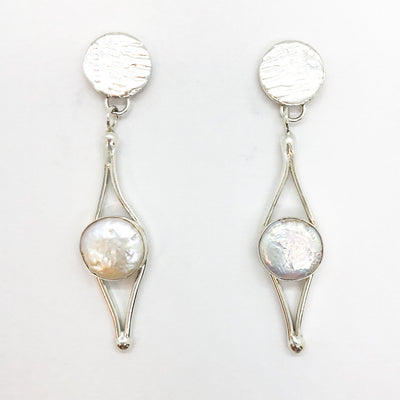 Sterling silver Split Earrings with White Coin Pearl by Judie Raiford