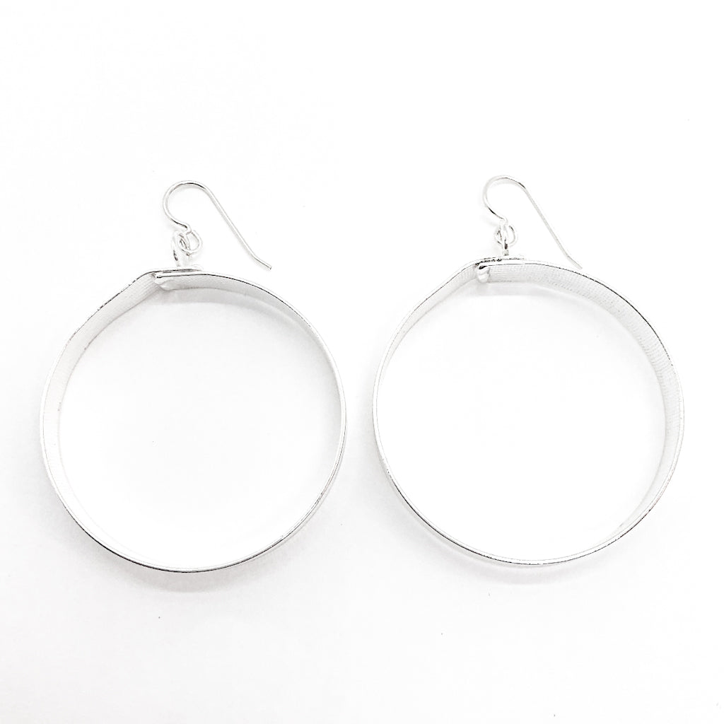 large sterling silver Full Moon Textured Bandage Hoop Earrings by Judie Raiford