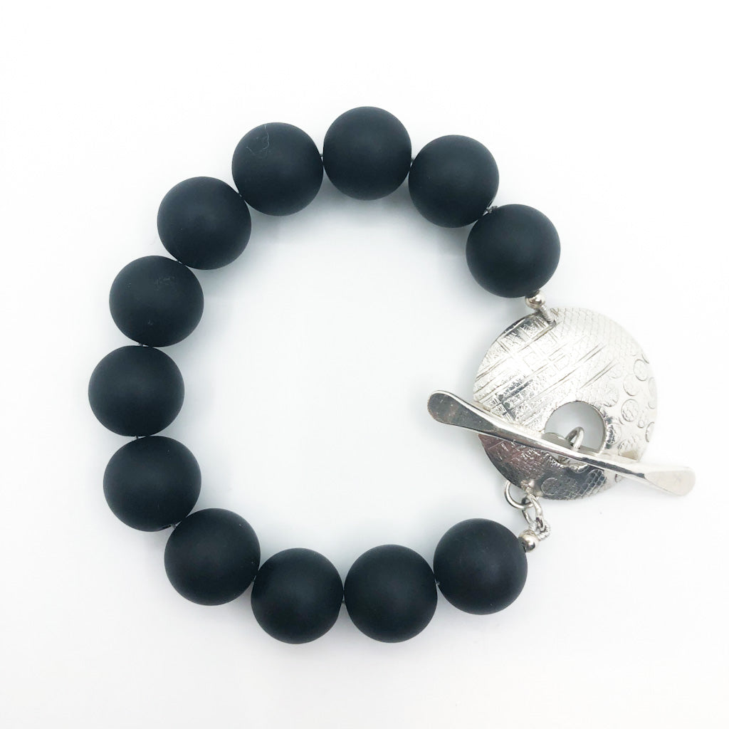 Sterling Cupcake Bracelet with Sandblasted Black Onyx by Judie Raiford
