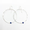 Sterling Orbit Earrings with Lapis by Judie Raiford