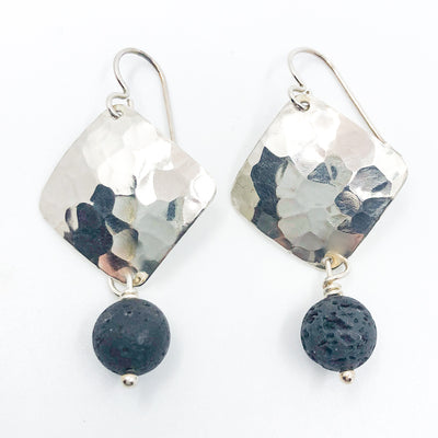 Sterling Ball Pein Hammered Goat Earrings with black lava by Judie Raiford