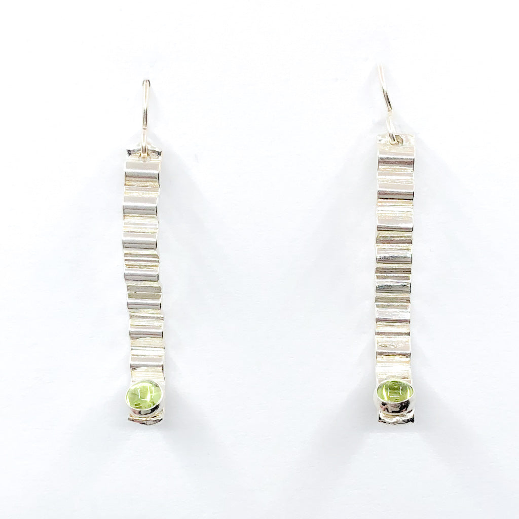Short Sterling Corrugated Wave Stick Ears with Peridot and french hook by Judie Raiford