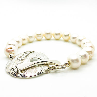 Sterling Cupcake Bracelet with White Pearls