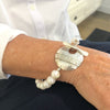 Sterling Triple Strand Cupcake Bracelet with Gold Pearls by Judie Raiford worn on model