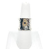 size 6.75 Anticlastic Dot Ring with Blue Sapphire by Judie Raiford on white ring display stand