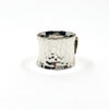 right side view of size 6.75 Anticlastic Dot Ring with Blue Sapphire by Judie Raiford