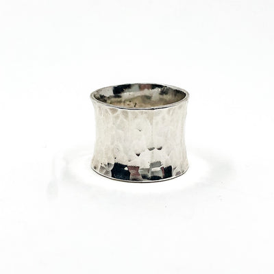 back side view of size 6.75 Anticlastic Dot Ring with Blue Sapphire by Judie Raiford