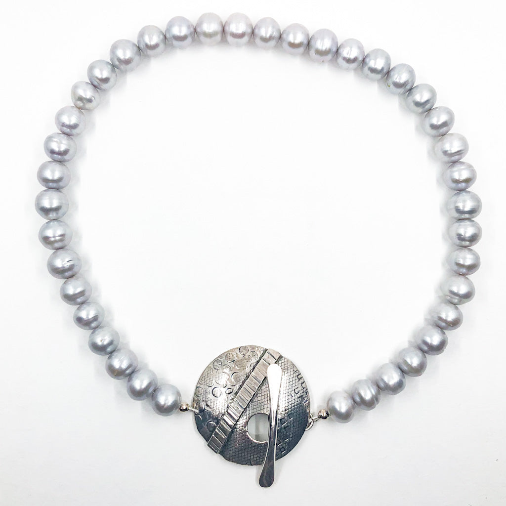 Sterling Layered Cupcake Necklace with Gray Baroque Pearls