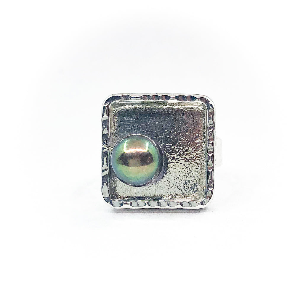 size 6.25 Sterling Square Not Naught Ring with Peacock Pearl by Judie Raiford
