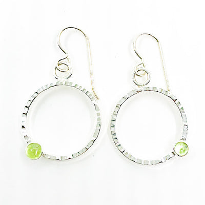 Sterling Pluto Earrings with Peridot by Judie Raiford