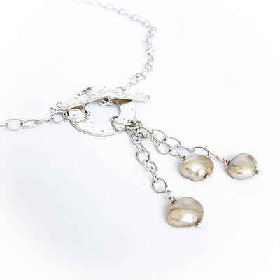 Dale 3-Pearl Lariat Necklace with Champagne pearls by Judie Raiford