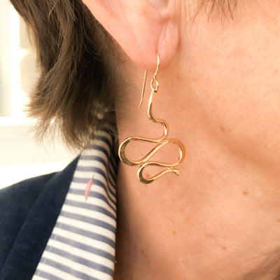 14k Gold Filled Touch of Romance Earrings by Judie Raiford worn on model