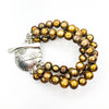 Sterling Triple Strand Cupcake Bracelet with Gold Pearls by Judie Raiford
