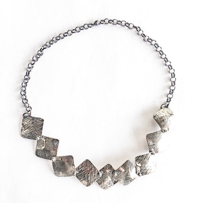 Oxidized Sterling Traveling Squares Necklace by  Judie Raiford