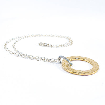 Sterling and 14k Gold Filled Ball Pein Hammered Circle Pendant Necklace