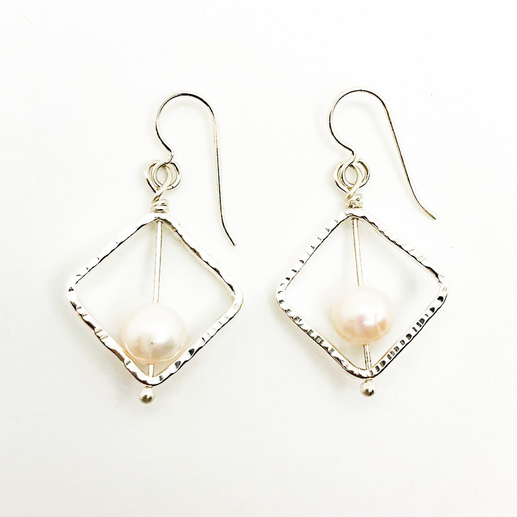 Sterling Not Naught Square Pearl Earrings