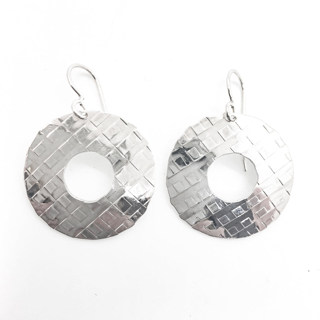 sterling silver Square Hammered Olive Earrings by Judie Raiford