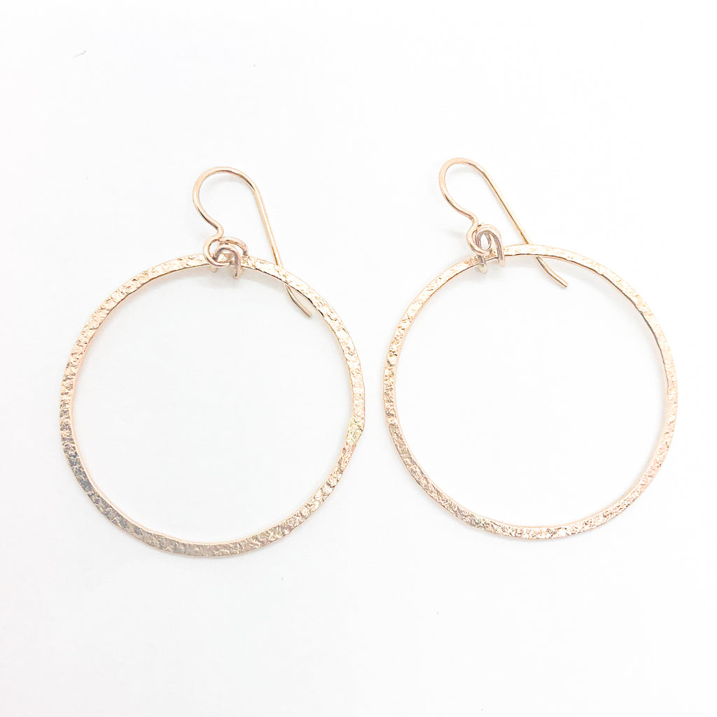 14k Gold Filled Mom's Hammer Flat Orbit Earrings by Judie Raiford